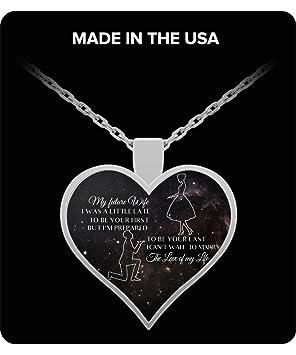 A mi esposa collar con colgante en forma de corazón a mi querida esposa, regalo perfecto para un soldador es esposa oro o plata - familia: Amazon.es: ...
