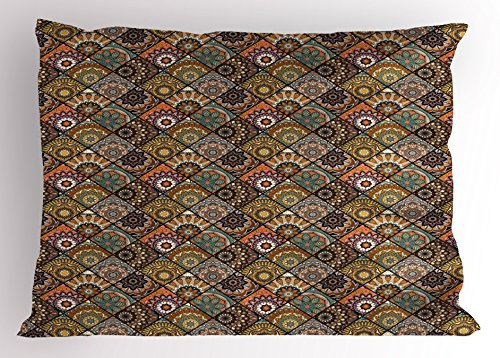 Ambesonne Moroccan Pillow Sham, Ethnic Mexican Ornaments with Abstract Artistic Old Fashioned Mandala Checkered, Decorative Standard King Size Printed Pillowcase, 36 X 20 inches, Multicolor by Ambesonne