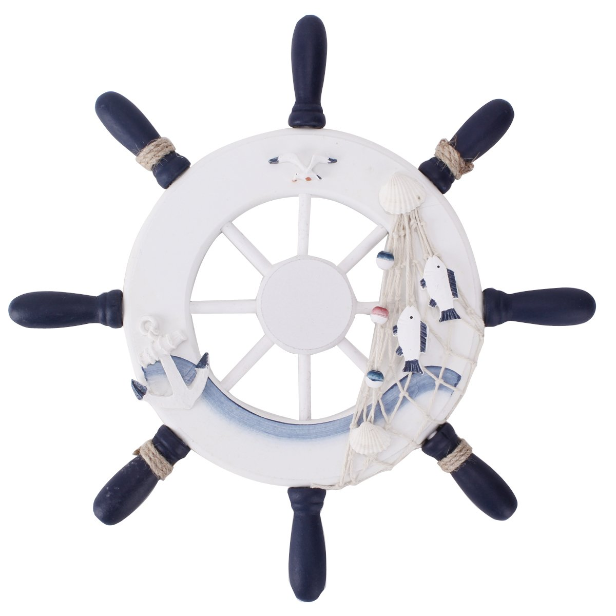 UniqueBella Nautical Mediterranean Style Nordic Wooden Boat Wheel Rudder Helm Colour Blue and White Large