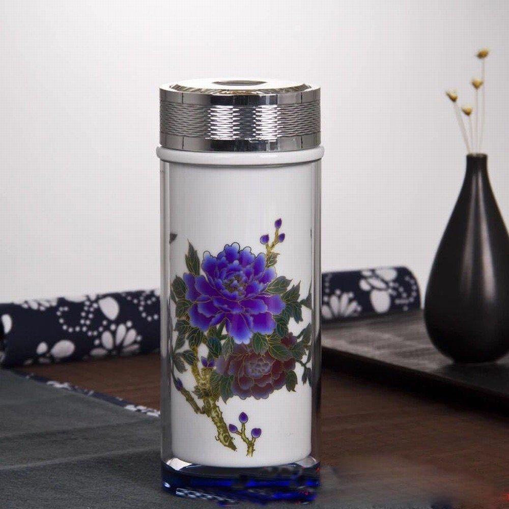 Keramische Tasse Männer und Frauen Tasse Blau und Weiß Keramik Liner Büro Tasse,B