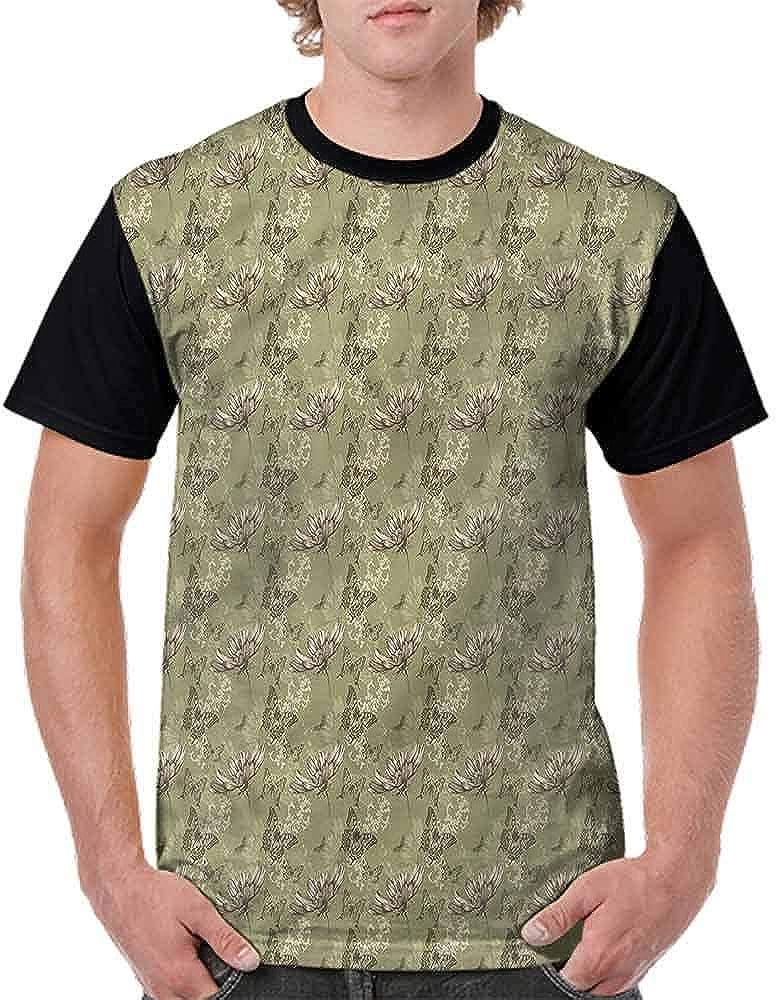 BlountDecor Cotton T-Shirt,Old Fashioned Artsy Fashion Personality Customization