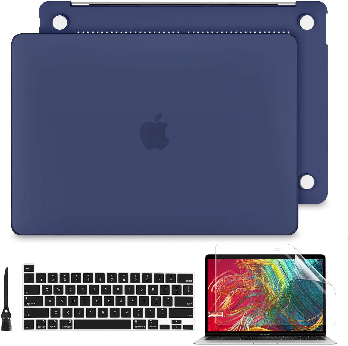 Batianda for New MacBook Pro 13 inch Case 2020 Release Model A2289 A2251 Model Plastic Hard Shell with Keyboard Cover Skin & Screen Protector for Mac Pro 13 Touch Bar, Navy Blue