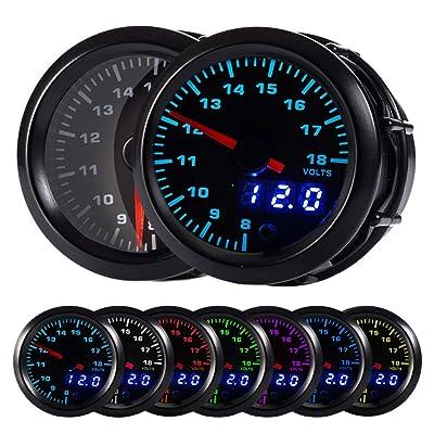 "HOTSYSTEM 7 Color Voltmeter Volt Gauge Kit 8 to 18 Volt Pointer & LED Digital Readouts 2-1/16"" 52mm Black Dial for Car Truck: Automotive"