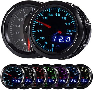 "2/""7Color Volts Gauges Car Modification Instrument High Contrast Gauge Auto Car Accessories Digital Display Voltmeter"