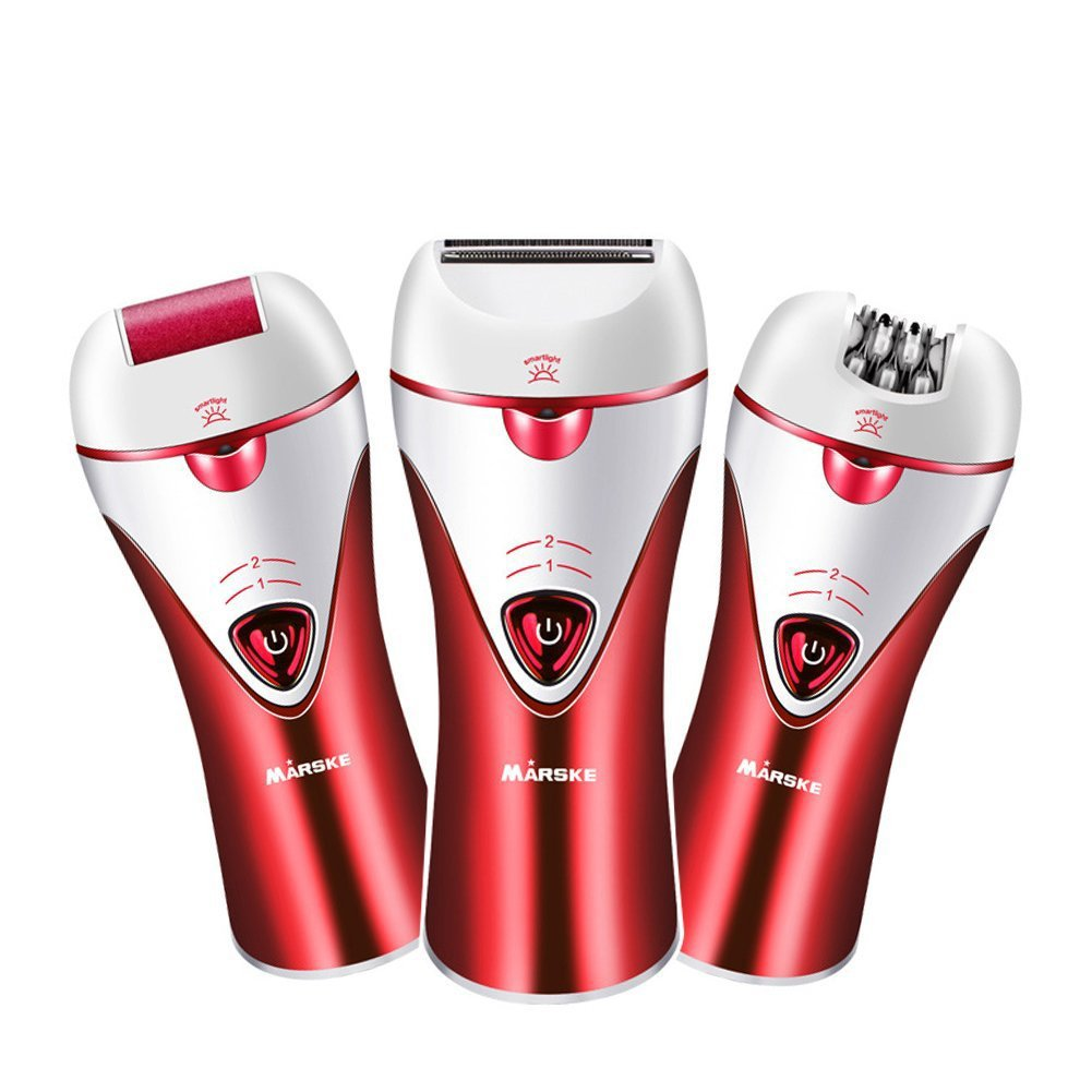 Epilator, 3 in 1 Rechargeable Women Cordless Epilator Bikini Trimmer Hair Removal Shaver For facial Body Armpit leg Foot grinder shaver Foot Care (Red) clerver bright