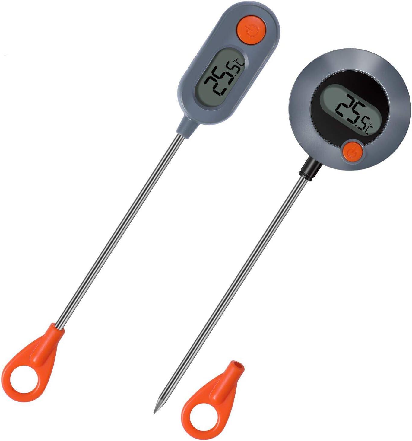 Termometro Cocina Digital,(2Pack)Termometro Cocina con Sonda Larga Cocina Digital de Carne Thermometer, Lectura Instantánea en 2~4 Segundos para Cocinar Alimentos Líquidos Barbacoa Comida Leche
