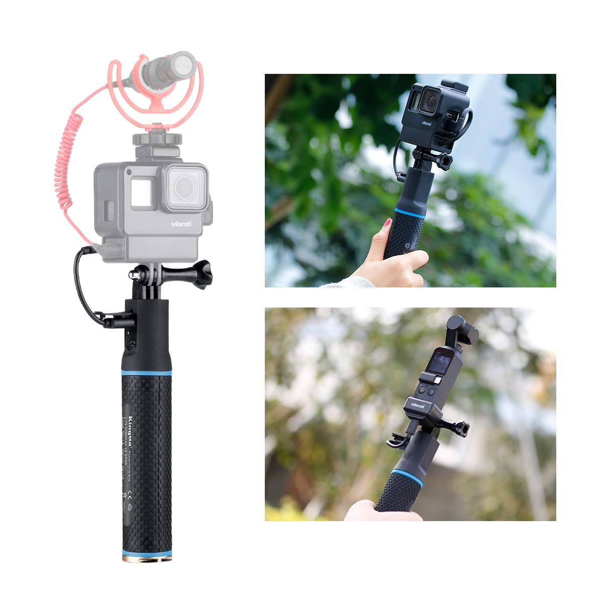 Rechargeable Power Hand Grip Monopod with OSMO Pocket Adapter and Phone Mount for DJI OSMO Action Pocket Gimbal Gopro 7 6 5 Vlog Case iPhone Samsung OnePlus 7 Pro Vlogging Power Bank Handle Rig Tripod
