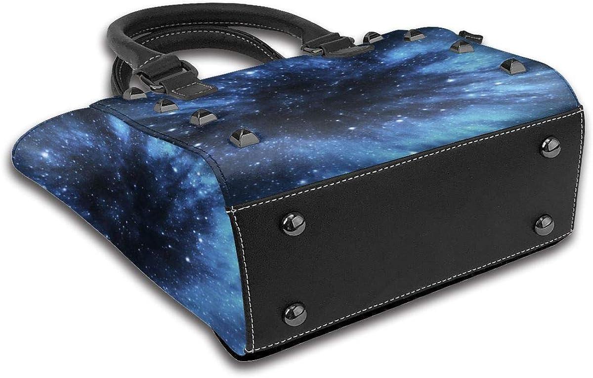 Galaxy Green - Borsa a tracolla da donna in vera pelle con rivetti Galaxy Cielo Stellato