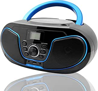 LONPOO Protable CD Boombox FM Radio/USB/Bluetooth/AUX Input and Earphone Jack Output with Stereo Sound Speaker Audio Player