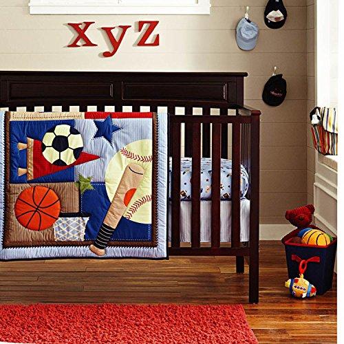 6-Piece Crib Nursery Bedding Sports Sets 100% Cotton Star Baby Boys Patchwork Quilt Crib Bedding in a Bag Dark Blue (Sports 9 Piece Crib)