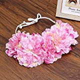 Beauty Bride Rose Flower Crown Hairband Wedding Floral Headband Garland Festival Wreath Hand Strap Hair Accessories Pink