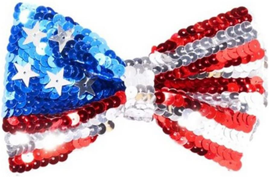 RED WHITE /& BLUE SEQUIN BOW TIE AMERICA USA Mens Ladies Fancy Dress Accessory