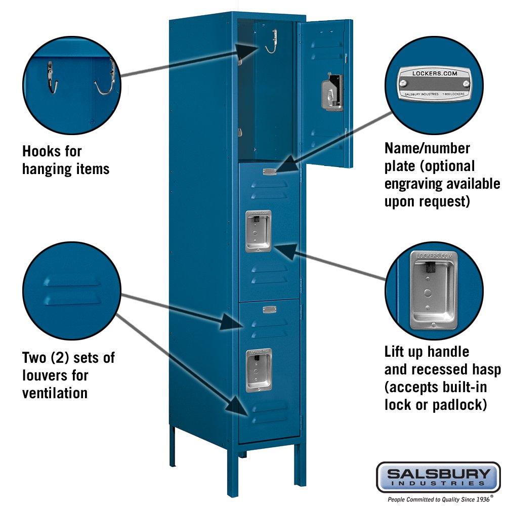 Salsbury Industries Standard Metal Locker - Triple Tier - 1 Wide - 5 Feet High - 18 Inches Deep - Unassembled | Blue 63158BL-U