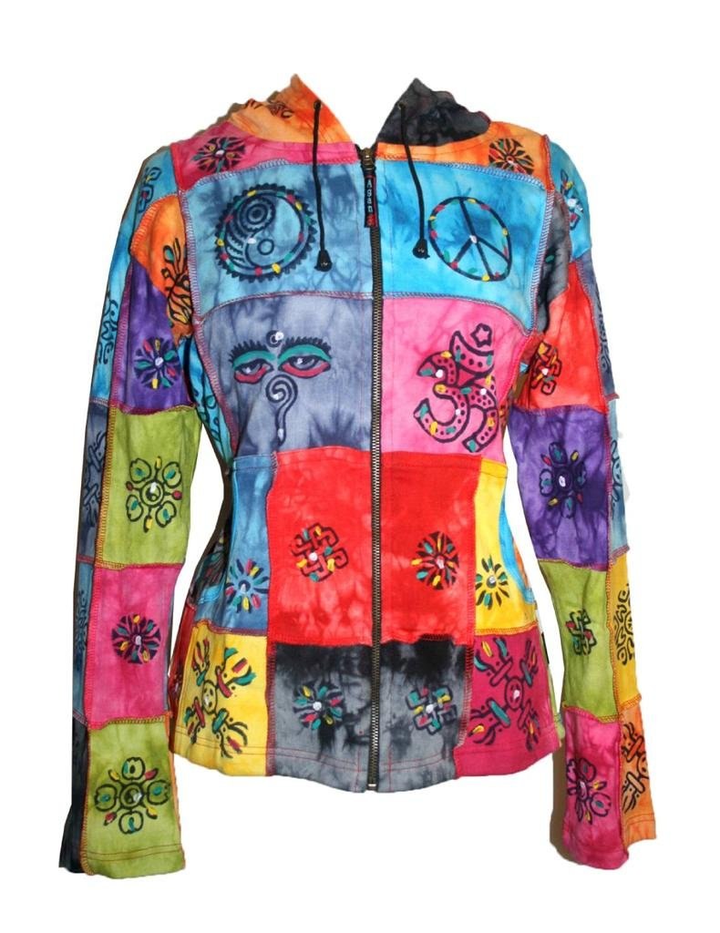 R 301 Agan Traders Rib Funky Bohemian Block Print Jacket (L, Multicolored) by Agan Traders