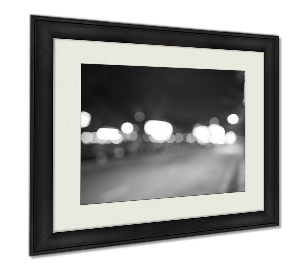 Ashley Framed Prints Defocused Shot Of Pattaya At Night Time, Wall Art Home Decoration, Black/White, 30x35 (frame size), AG5892418