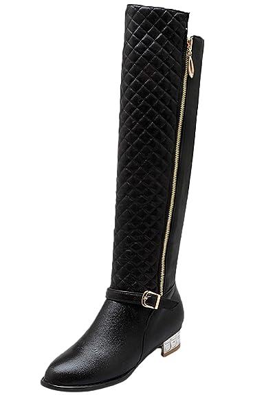 Damen Knie Hohe Stiefel Warm Herbst Winter Bequem Reißverschluss Reitstiefel von Bigtree Silber 37 EU 131EU1kkl0