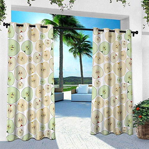 Apple, for Patio Light Block Heat Out Water Proof Drape,Fruits Cut in Half Cores and Seeds of Apples Refreshing Vegetarian Options Abstract, W96 x L108 Inch, Multicolor