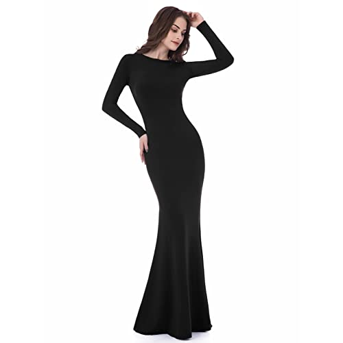 Sarahbridal Womens Long Sleeve Prom Dresses Mermiad Backless Sheath Evening Gowns Lf015