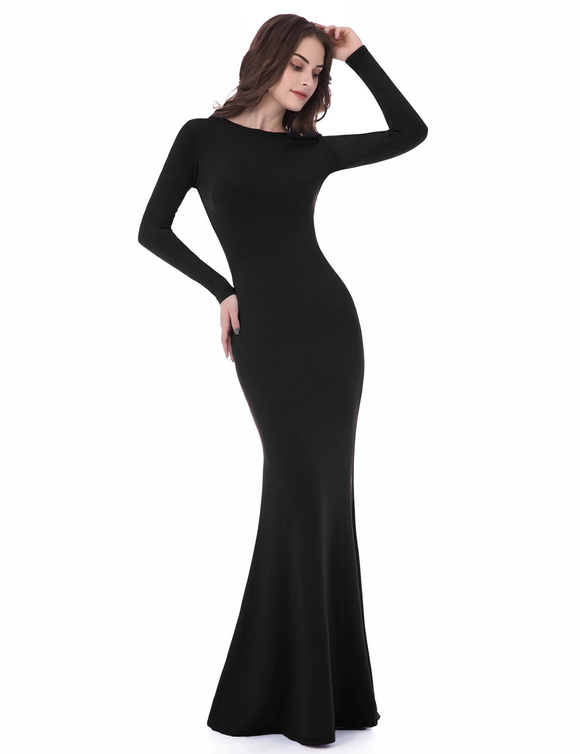 Sarahbridal Women's Black Long Sleeve Backless Sheath Prom Gown CLF015