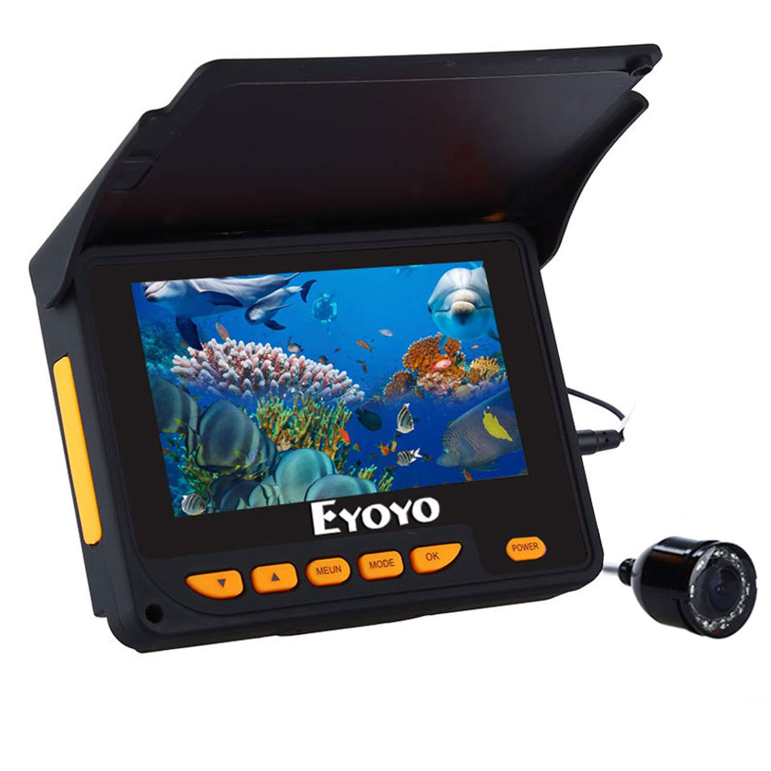 Eyoyo Underwater Fishing Camera Portable Fish Cam 4.3 inch Color Screen DVR Function 1000TVL IP68 Waterproof Camera w/ 8 Adjustable Infrared Lights 20m Cable