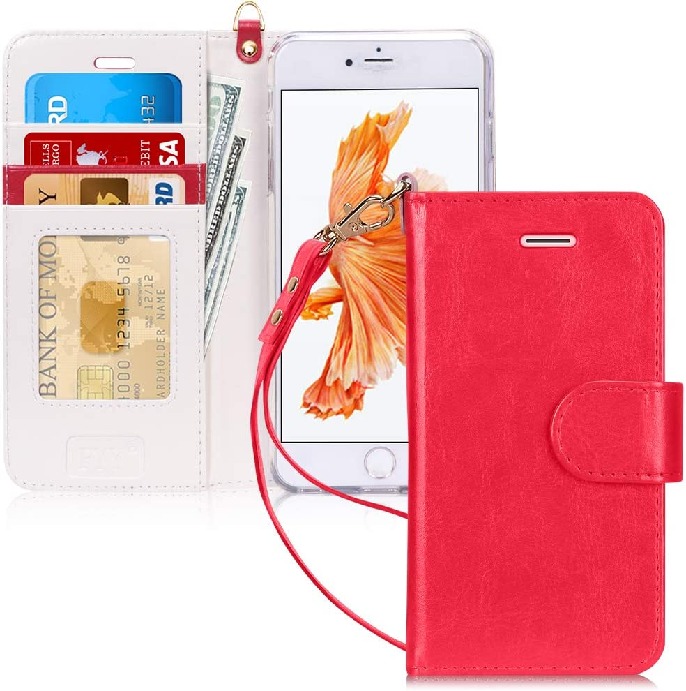 """FYY Case for iPhone 6S Plus/iPhone 6 Plus (5.5""""), [Kickstand Feature] Luxury PU Leather Wallet Case Flip Folio Cover with [Card Slots][Wrist Strap] for iPhone 6S+ Plus/iPhone 6+ Plus (5.5"""") Red"""