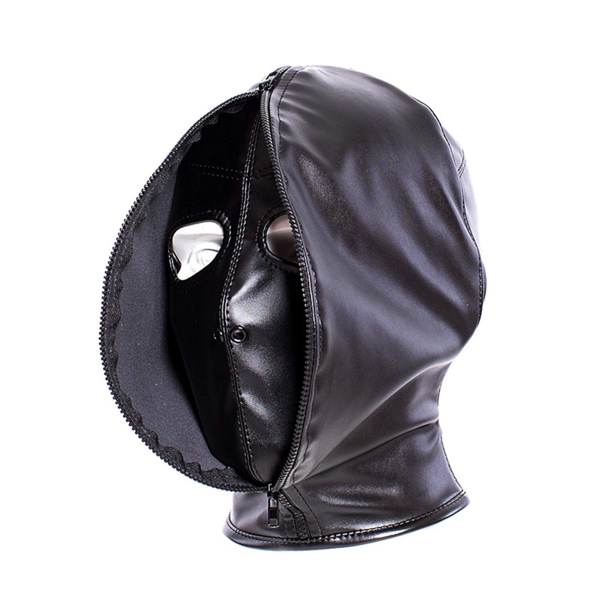 Santchcz Double Layer BDSM Bondage Hood Mask Zipper Closed Erotic Toy, Blackout Mask Blindfold,Head Harness Cosplay Accessories by Santchcz