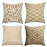 Decorative Pillow Cover - MRNIU Set of 2 Throw Pillow Covers Coastal Cushions 100% Cotton Home Decorative 18 x 18 inch Soft Pillow Case Covers Invisible Zipper Pillow Case No Pillow Insert Furniture Cushions 02 (04pc-Brown)