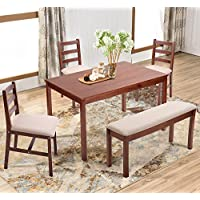 Harper&Bright Designs 5 Piece Dining Table Set, Solid...