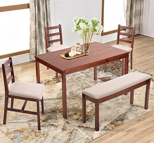 Harper & Bright Designs 5 Piece Dining Table Set Dining Dinette Table chairs and Bench Kitchen Dining Set (Walnut) (Kitchen Sets Dining Table)