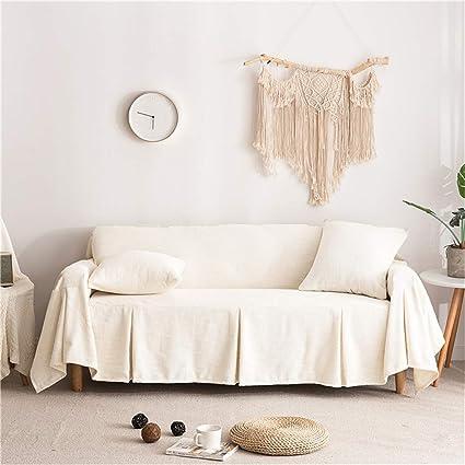 Icegrey Cotton Linen Sofa Slipcover Sofa Towel Cover Furniture Protector  Beige 78x118