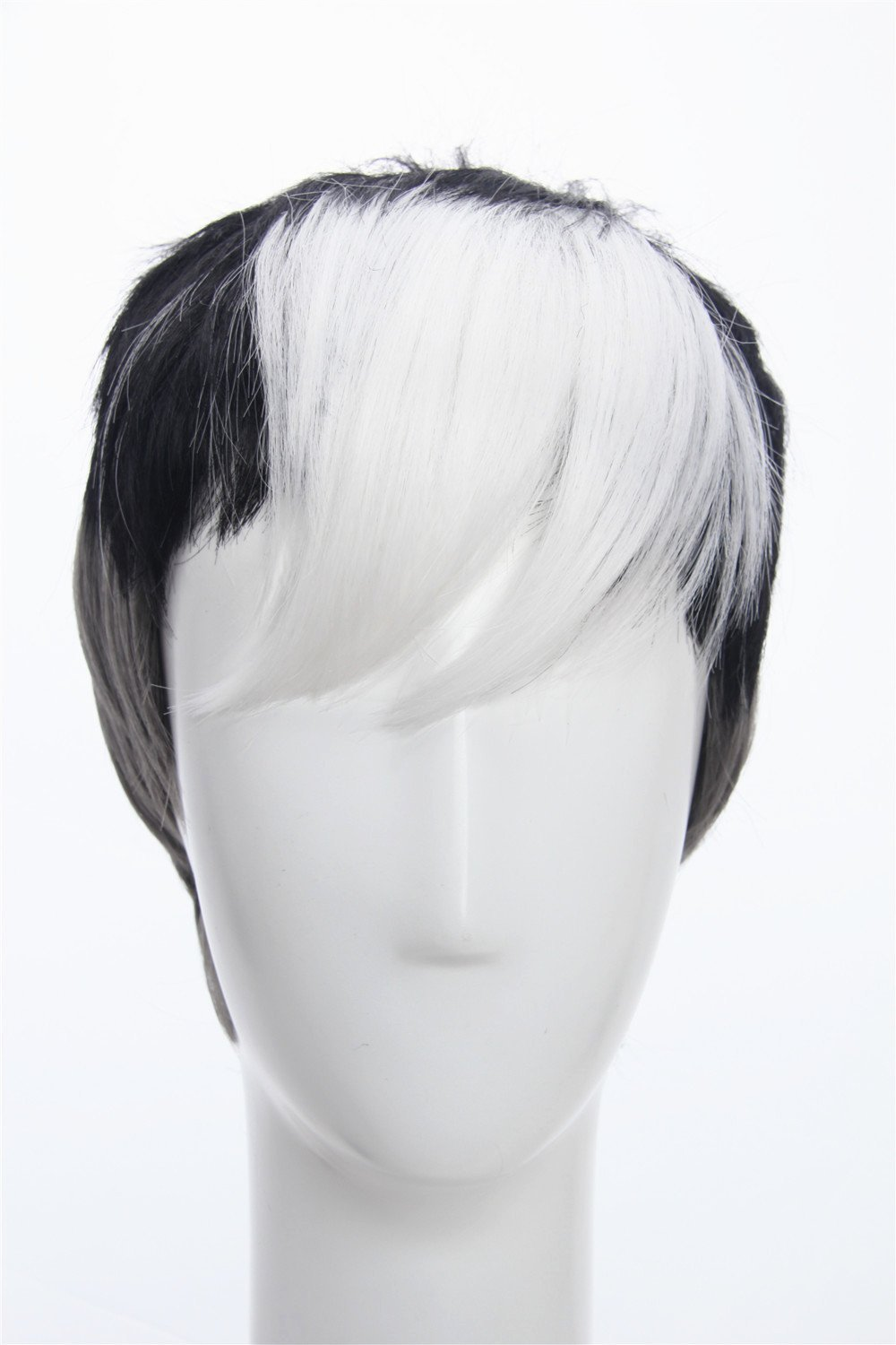 Weave Wigs- Voltron Shiro Wig Inspired by Legendary Defender Cosplay Gray Black White Tricolor Wig for Men Short Hair