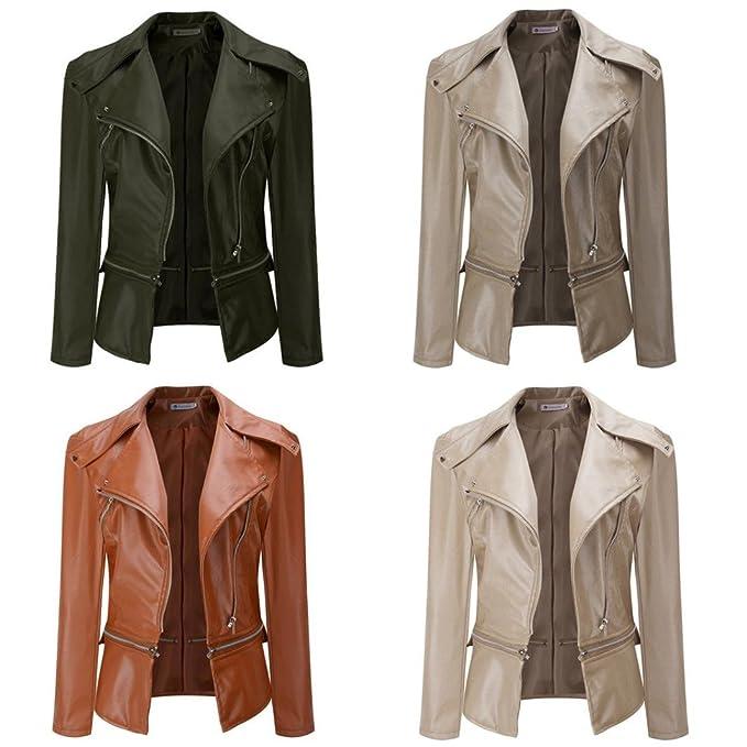 f7d51bde1306 Women Winter Warm Faux Collar Short Coat Leather Jacket Parka Overcoat  Outwear by TOPUNDE at Amazon Women's Coats Shop