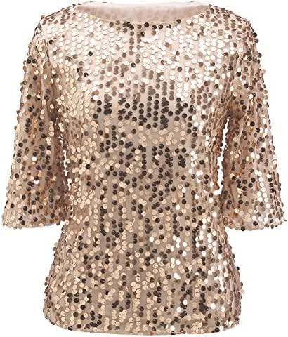 Womens Shimmer Glam Glitter Sequin Embellished Sparkle Blouse Top Shirt