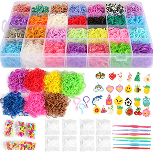 17,000+ Mega Refill Loom Set for Kids Bracelet Weaving DIY Crafting Kit with Rainbow Rubber Bands,24 Charms,175 Beads,600 Clips,3 Backpack Hooks,Organizer Case with Handle by STSTECH (Rubber Weave Bracelet)