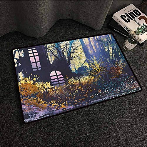 (DuckBaby Non-Slip Door mat Fantasy Mystical House in Tree Trunk with Windows Ancient Lost City Animation Nature Print Anti-Fading W20 xL31)