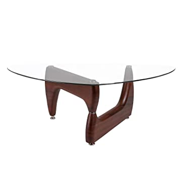 Merax Isamu Noguchi Style Coffee Table With Glass Top And Hardwood Legs,  Espresso