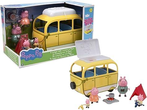 Peppa Pig, Camping-Car con Tienda de campaña y 4 Personajes, Figuras de Familia con Ropa de Vacaciones, Bicicletas, Luces de Campamento y Accesorios, ...