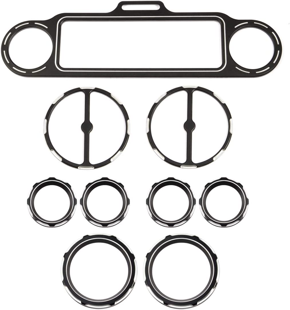 Lalaparts Black 9pcs CNC Burst Speedometer Gauge Bezels Kit Compatible for Harley Street Glide 1996-2013