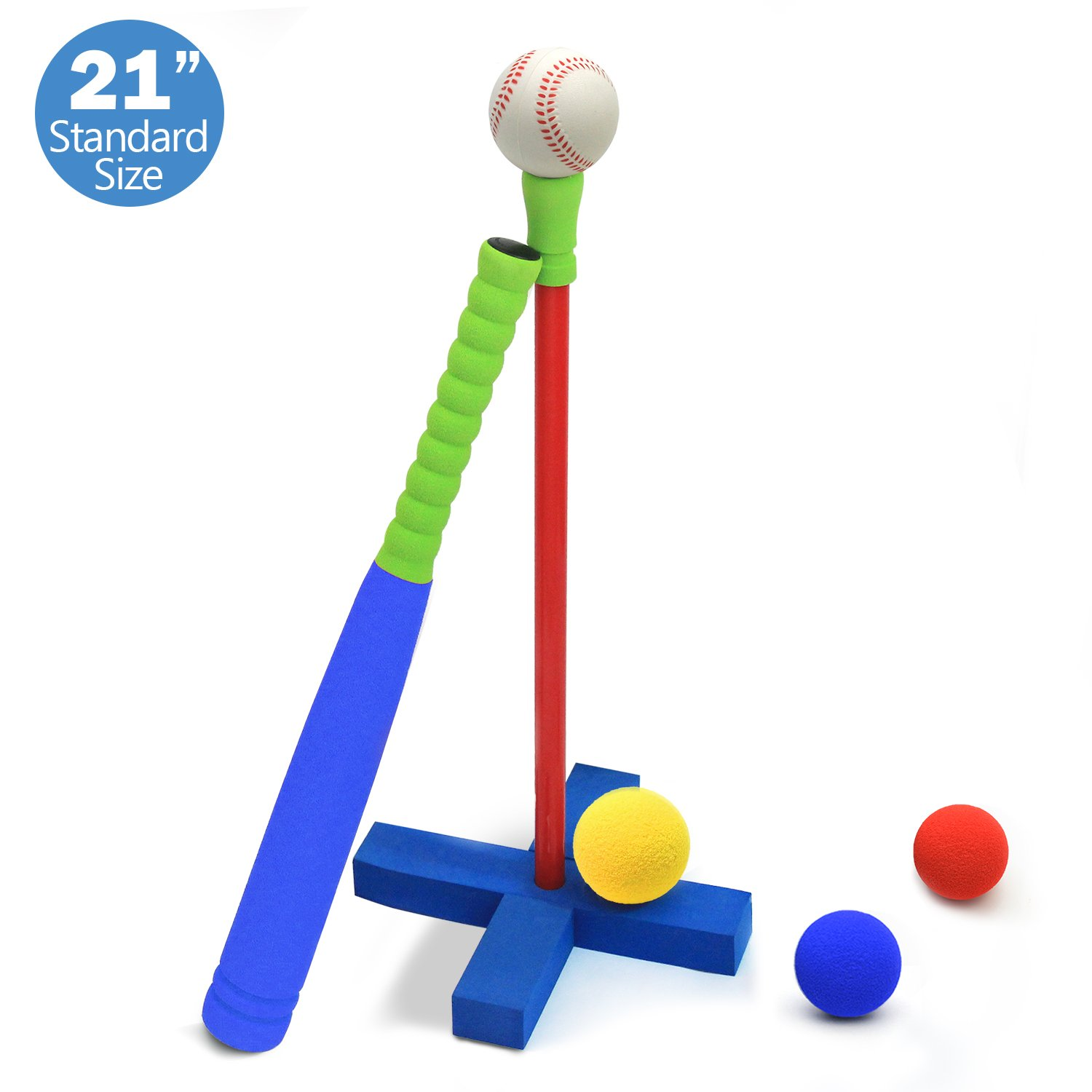 CELEMOON [Kids T-Ball Set Toy] Kids Foam T-Ball/Baseball Set Toy, 3 Different Sized Balls, Carry/Organize Bag Included, for Kids Over 3 Years Old, Blue