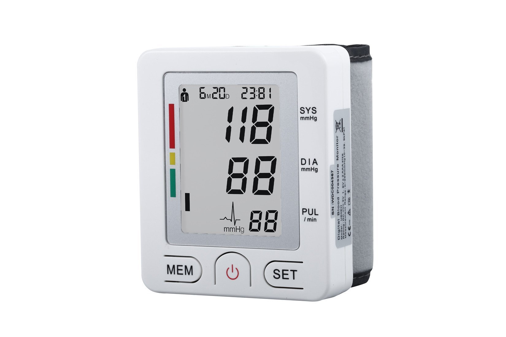 Fam-Health Portable Wrist Blood Pressure Monitor FDA Approved with Large Display, Two User Modes, Adjustable Wrist Cuff,IHB Indicator and 90 Memory Recall-White (U60BH)