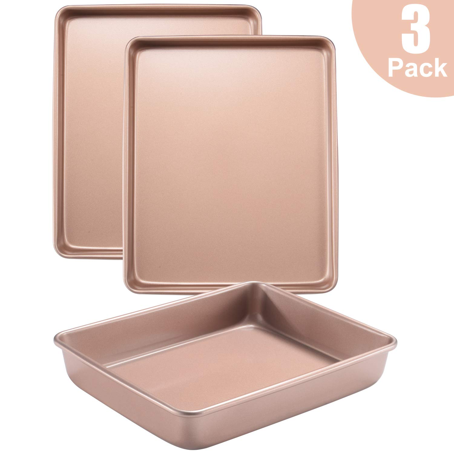 Joho Baking Sheet Pans Cookie Sheet,Bakeware Set of 3,Deep Baking Pans Nonstick Set,3-Piece Baking Trays for Oven,Gold