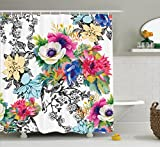 Ambesonne Flower House Decor Collection, Vivid Multi-Layered Pattern Print with Blossoming Wildflowers Birds Leaves and Branches, Polyester Fabric Bathroom Shower Curtain Set with Hooks, Multi