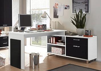 Buro Schreibtisch Kombination Manager Mit Sideboard Schwarz Weiss