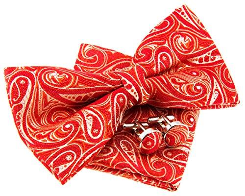Retreez Elegant Paisley Art Pattern Woven Microfiber Pre-tied Bow Tie (Width: 5