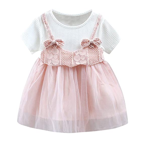 Summer Casual Baby Girl Short Sleeve Dress Bowknot Kid Toddler Princess Sundress