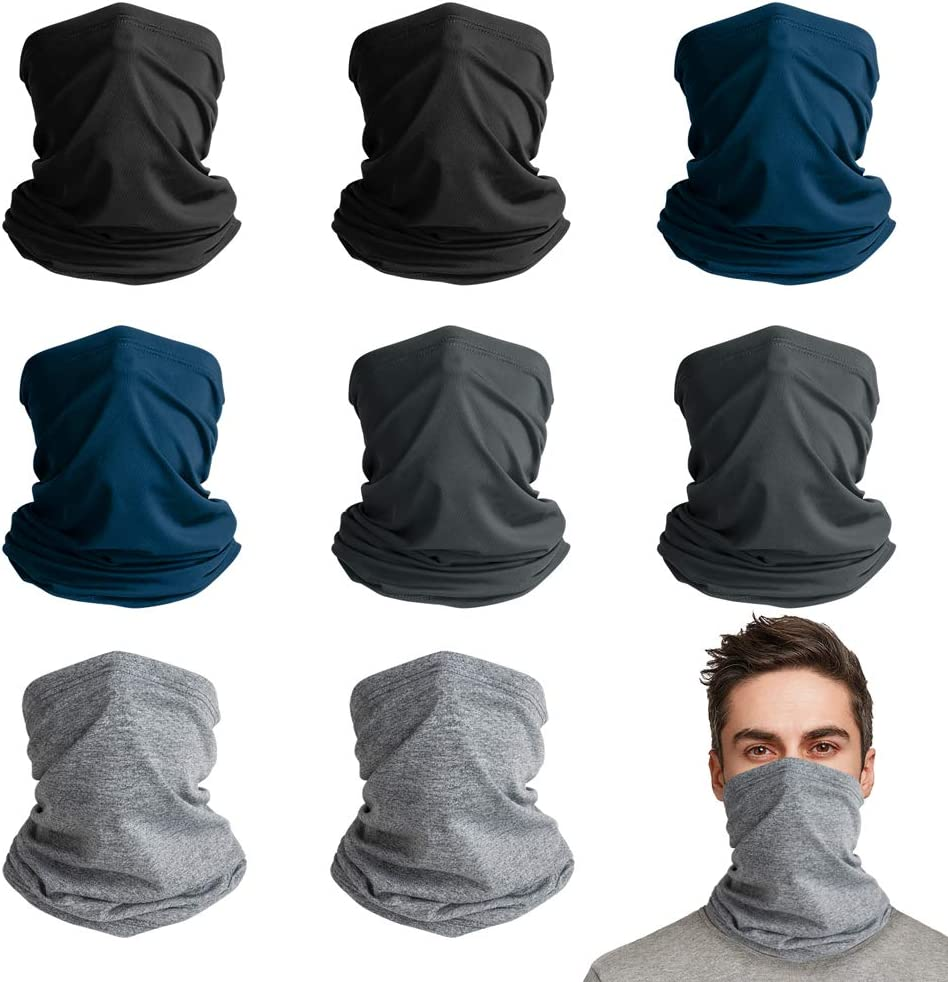 VULKIT 8 Pack Neck Gaiter Bandanas Headbands Headwear Breathable for Men and Women UV Protection Outdoor