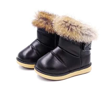 f9abe8bab Image Unavailable. Image not available for. Color: Winter Fashion Child  Girls Snow Boots Shoes Warm Plush Soft Bottom Baby Girls Boots Comfy Kids