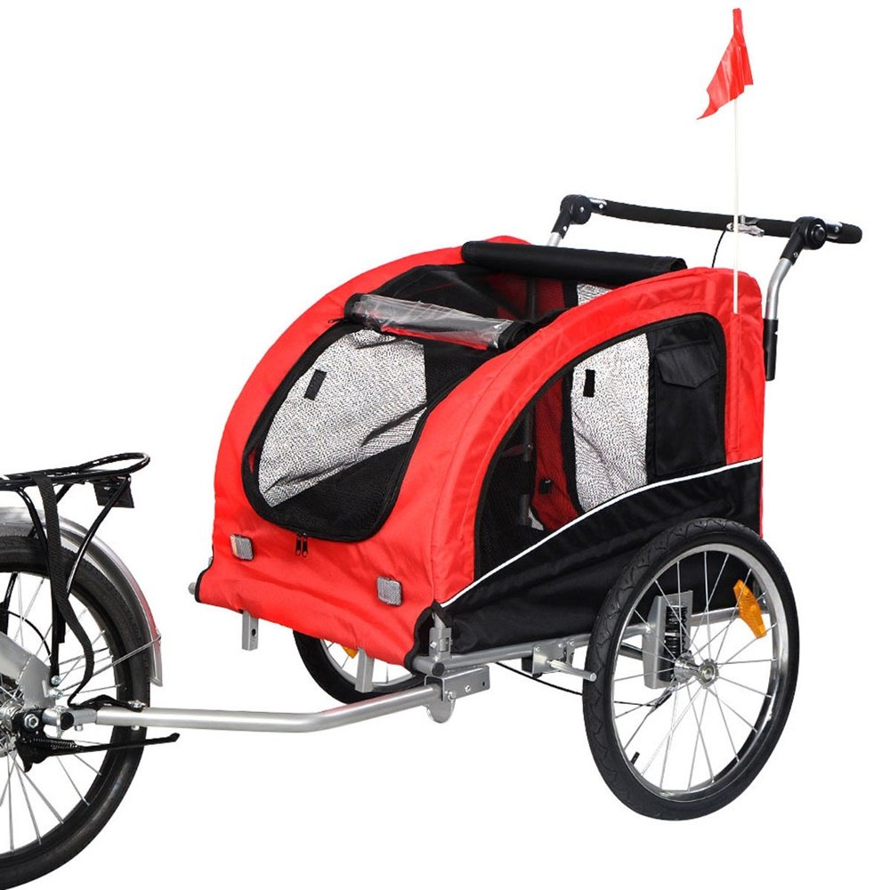 Angelwing Dog Trailer Stroller Carrier Pet Cycling Bike Bicycle Suspension Jogging 2 IN 1