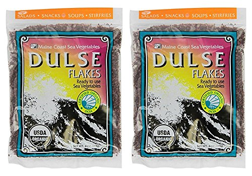 Dulse Flakes - Certified Organic- Sea Vegetables, washed, Pure Vegan- Maine Coast 4oz. (Pack OF 2)