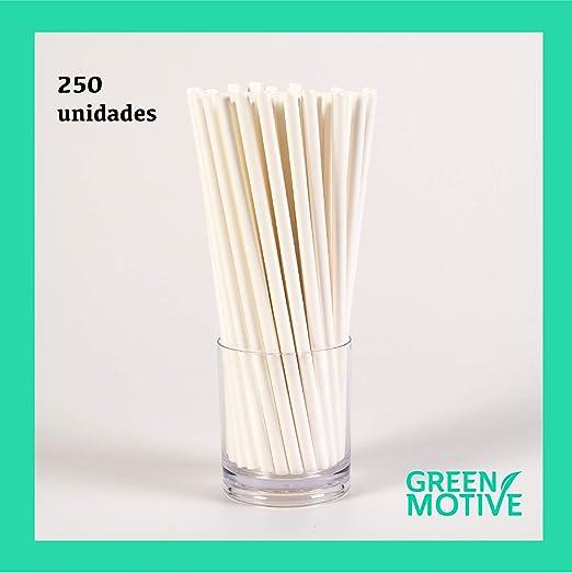 250 Pajitas de Papel Blancas / 100% Biodegradables 6mm x 20cm ...